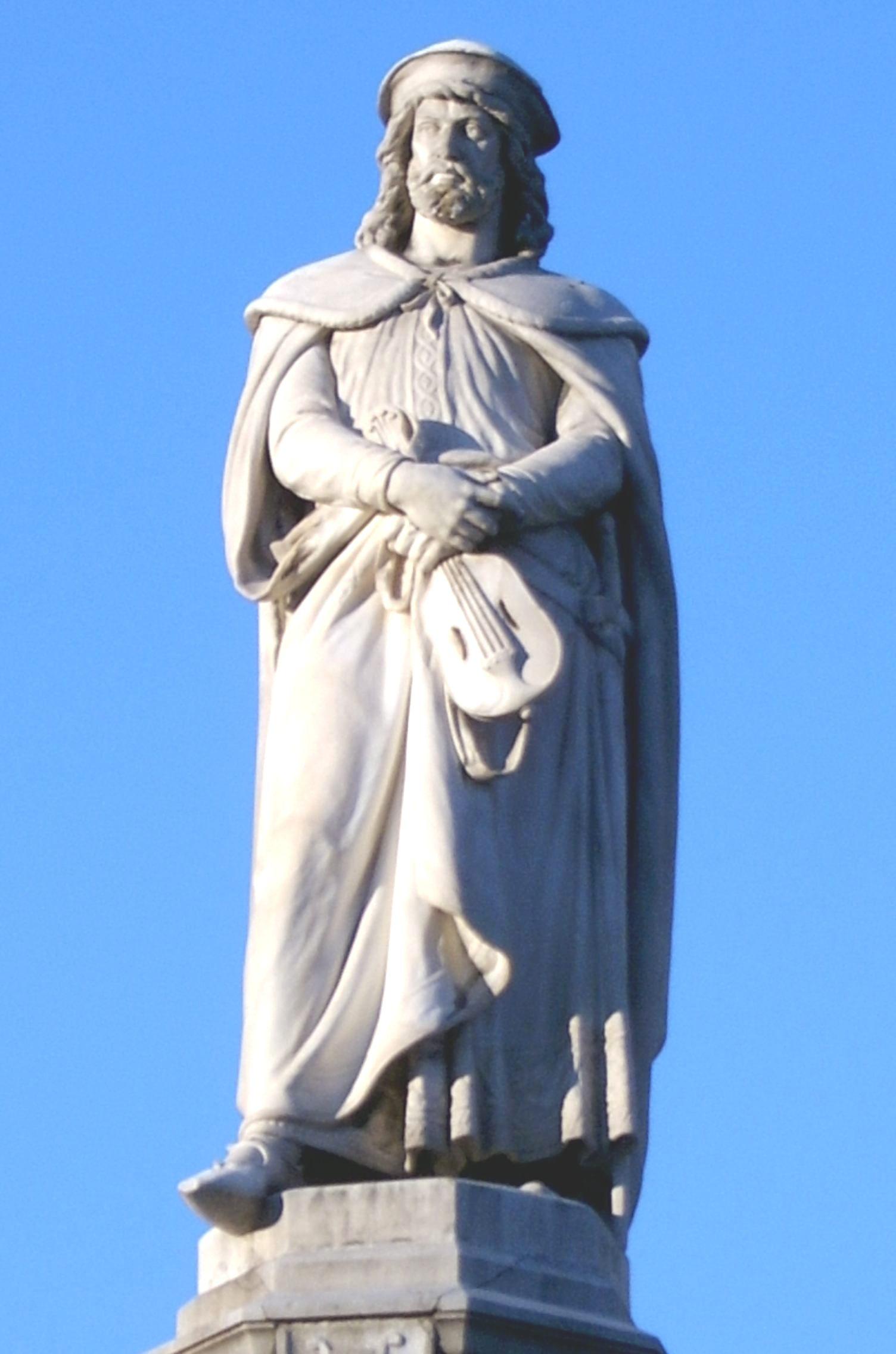 Estatua de Walther en Bolzano-Bozen.