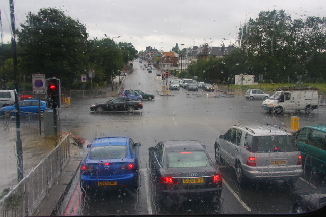 Wet Day at Henlys Corner - geograph.org.uk - 874843