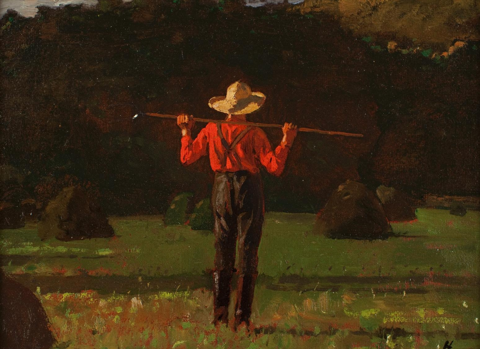 Farmer with a pitchfork, by Winslow Homer, 1874