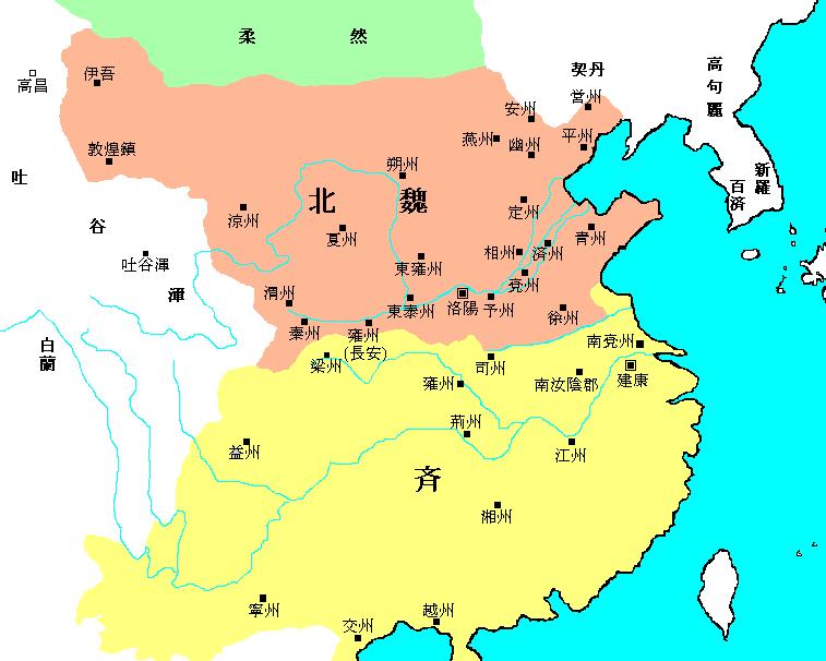 图 1: 北魏疆域