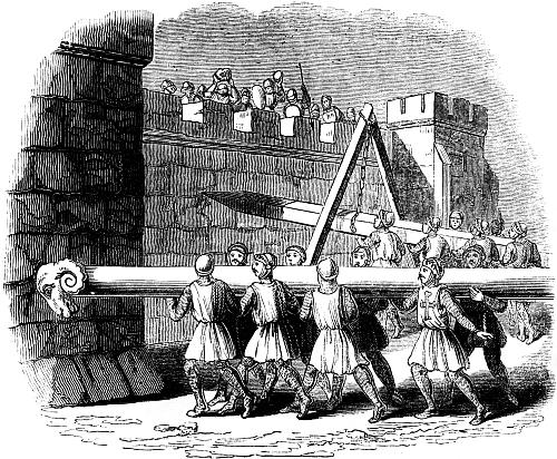 Attack On The Walls Of A Besieged Town Q X on Medieval Castle Age Siege Weapons
