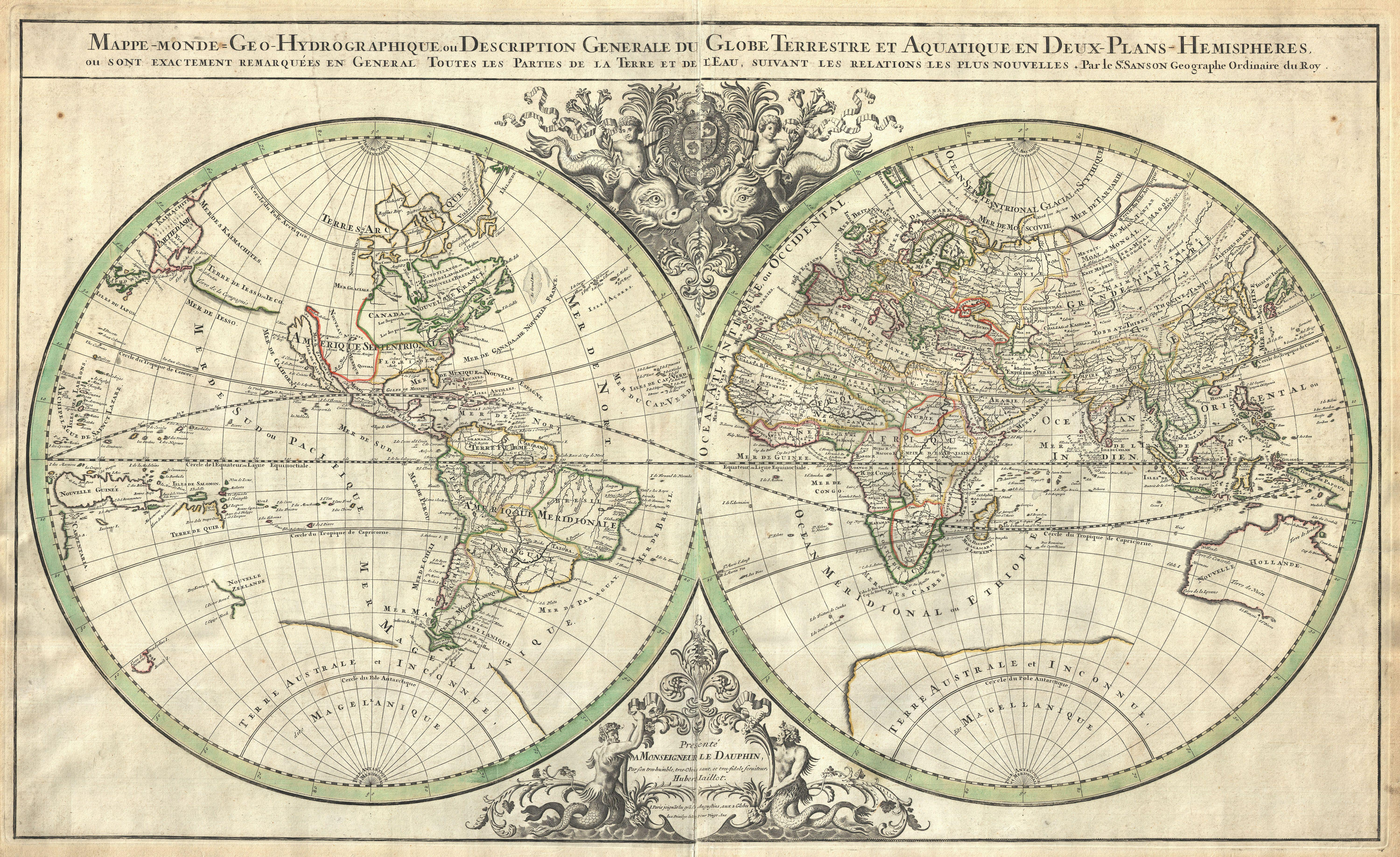 file 1691 sanson map of the world on hemisphere projection geographicus world2 sanson 1691. Black Bedroom Furniture Sets. Home Design Ideas