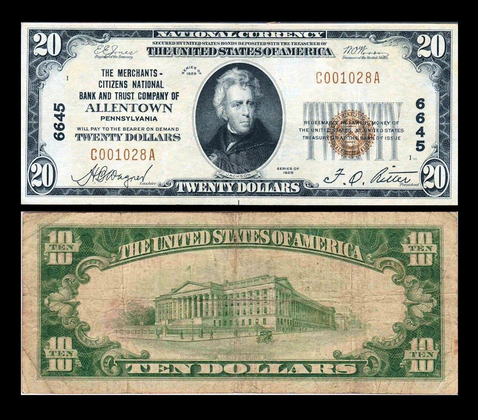 file 1929 twenty dollar bill merchants national bank allentown pa