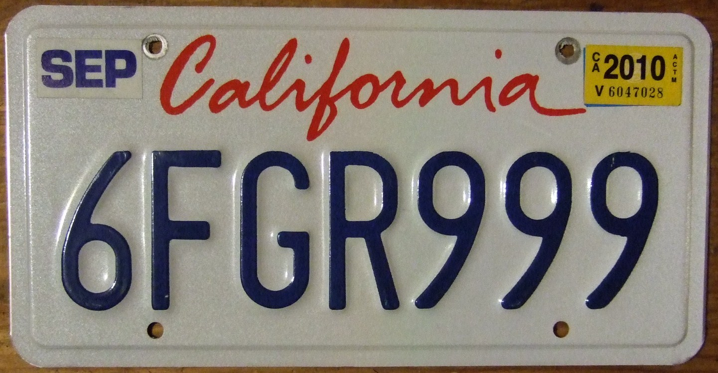 file 1996 california license plate 6fgr999 flickr wikimedia commons. Black Bedroom Furniture Sets. Home Design Ideas
