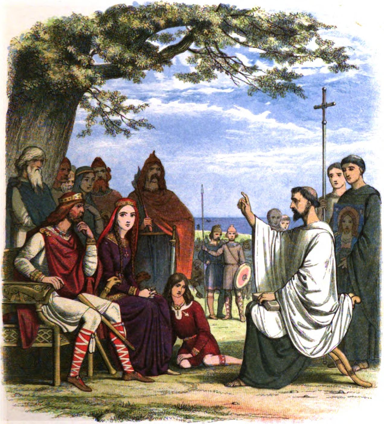 La foi catholique d`Angleterre – un rapide aperçu historique (musique et vidéo) A_Chronicle_of_England_-_Page_025_-_Augustine_Preaching_Before_King_Ethelbert