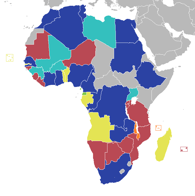 Countries of Africa, coloured according to highest finishing position at the Africa Cup of Nations.