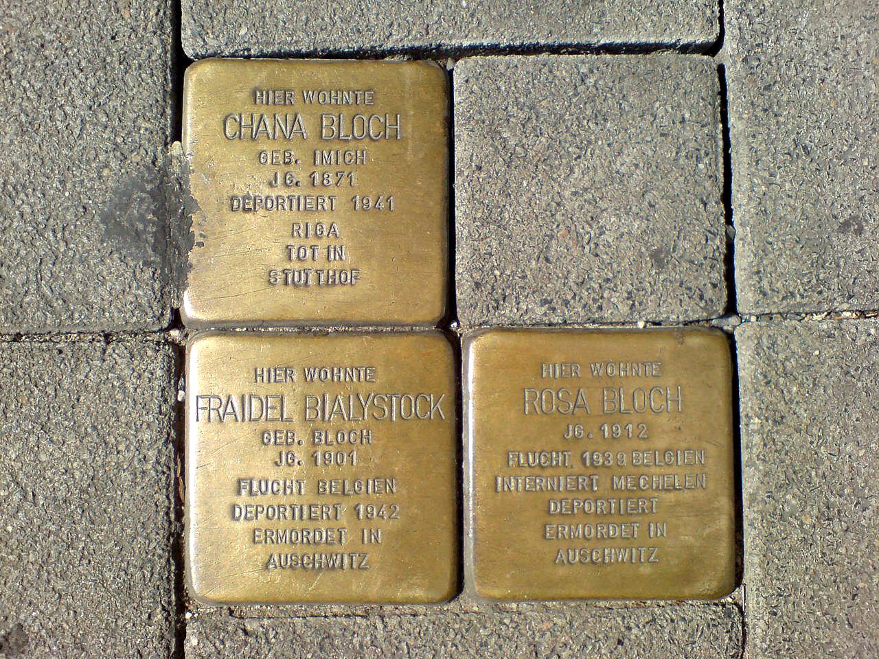 Am Marstall 14 Hannover Stolperstein Chana Bloch geborene Imich Fraidel Bialystock geborene Bloch Rosa Bloch deportiert und ermordet.jpg
