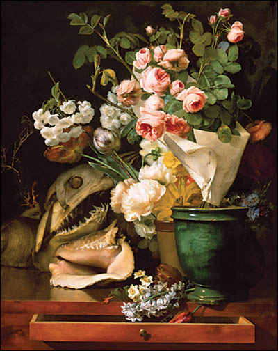 Antoine Berjon, Still Life With Flowers, Shells, a Shark's Head, and Petrifications (1819)