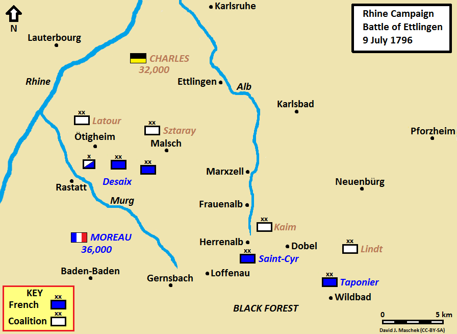 In the Battle of Ettlingen on 9 July 1796, the right wing of Archduke Charles drove back Moreau's left wing, but Saint-Cyr's wing overcame the Coalition troops in the Black Forest. Battle of Ettlingen 1796.png