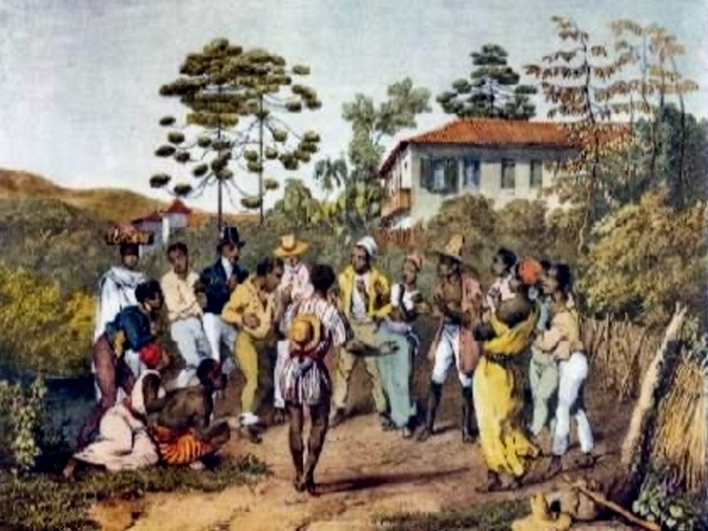 The Batuque practiced in Brazil of the 19th century, in a painting by Johann Moritz Rugendas