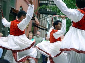Students performing a Raas, a traditional folk dance from India Bhangra.JPG