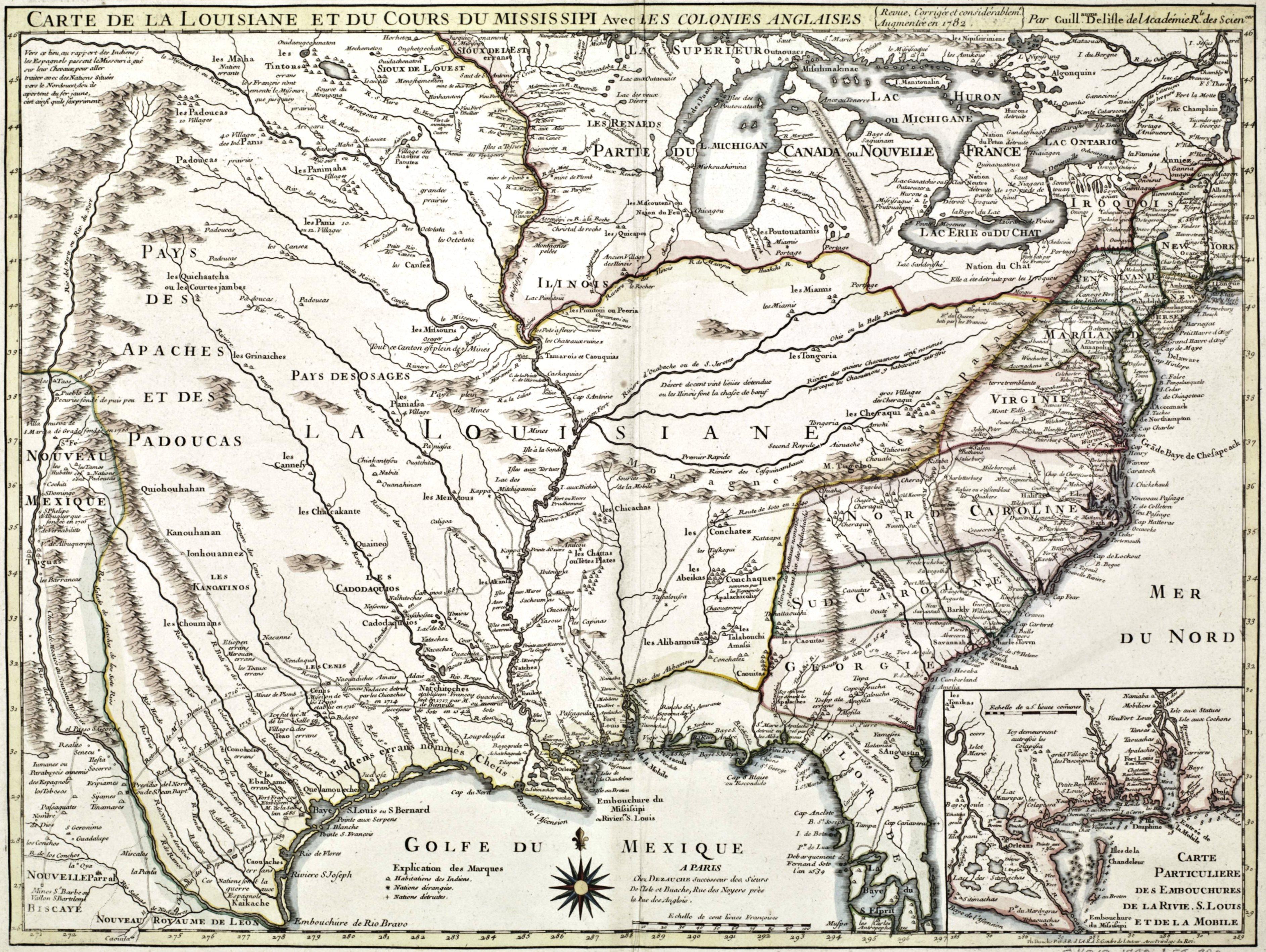 carte de la louisiane File:Carte de la Louisiane et du cours du Mississipi, avec les