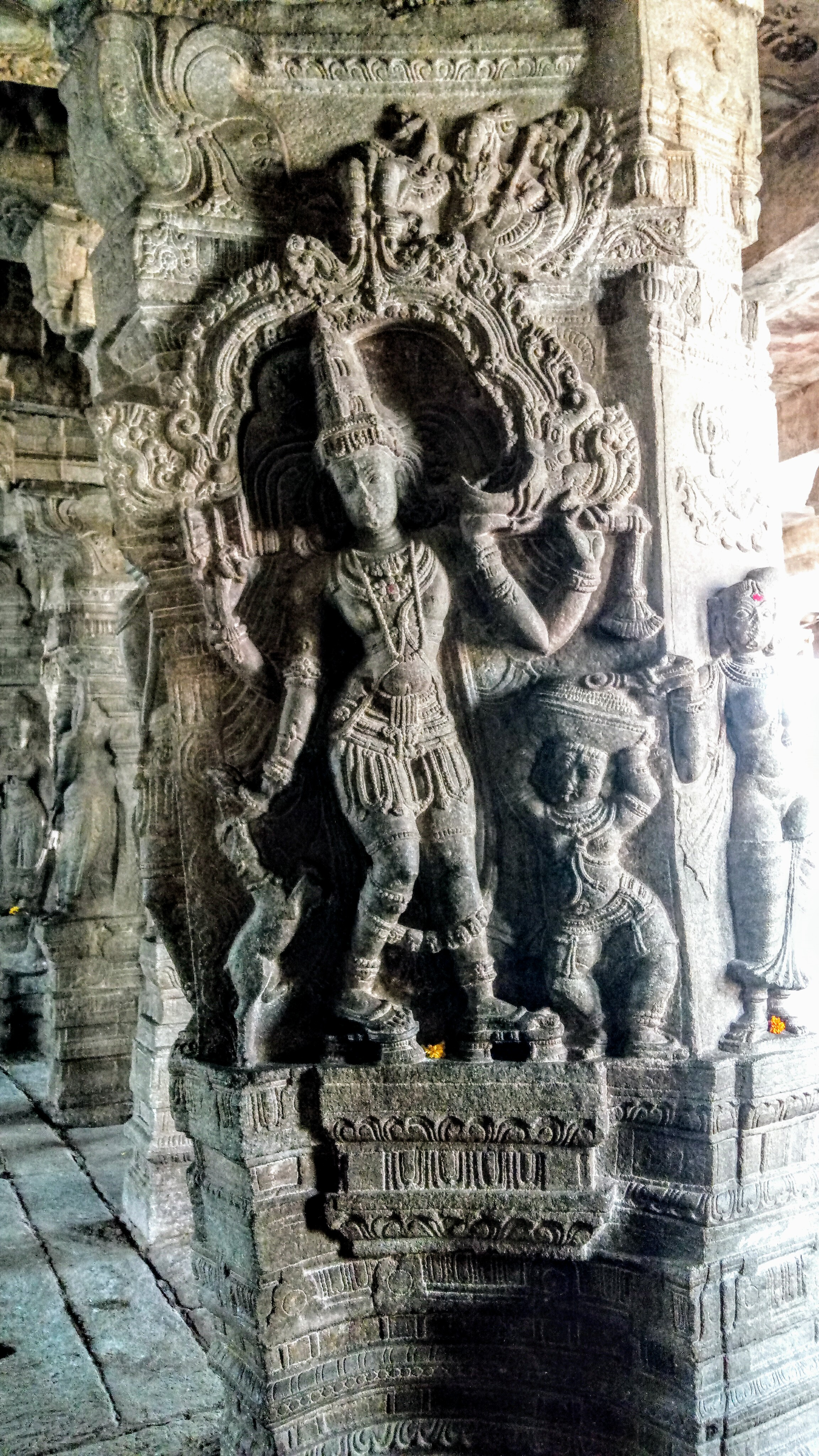 File:Carvings at Veerabhadra temple - Lord Shiva as a mendicant jpg