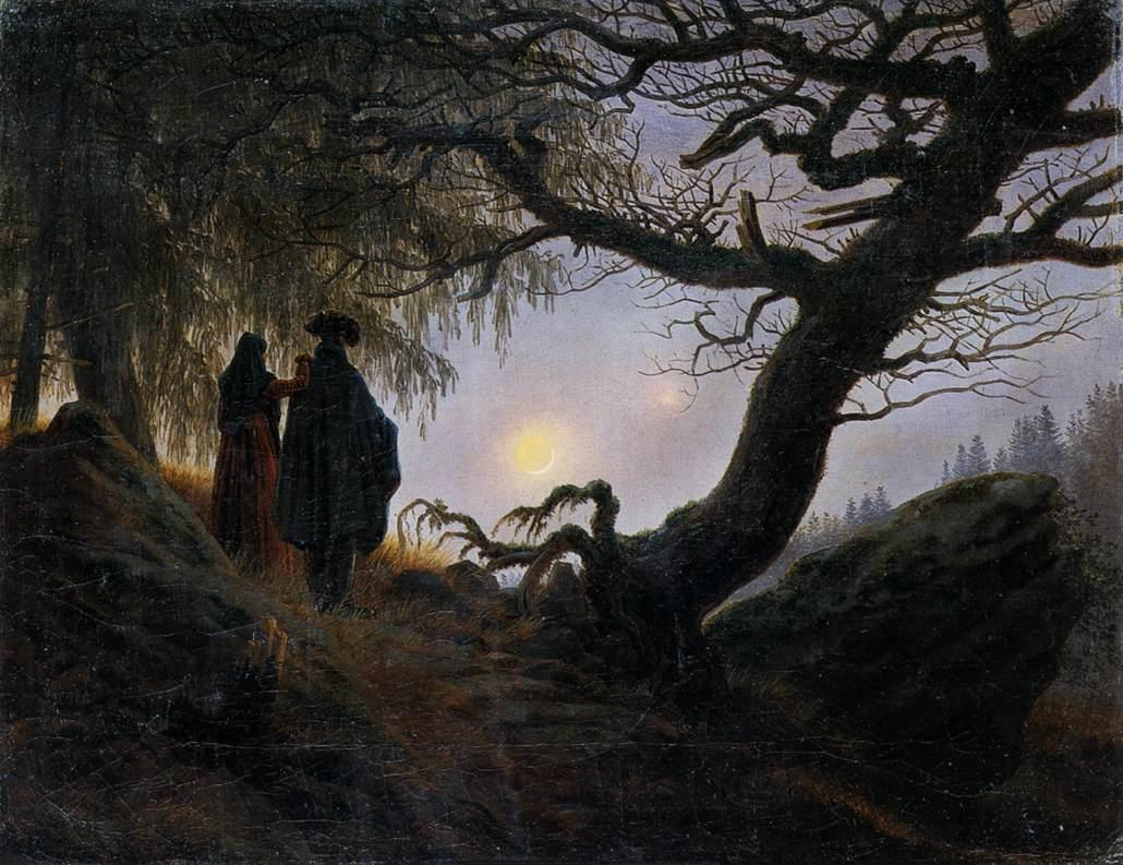 Man and Woman Contemplating the Moon, by Caspar David Friedrich, (ca. 1824) [1030 x 793]