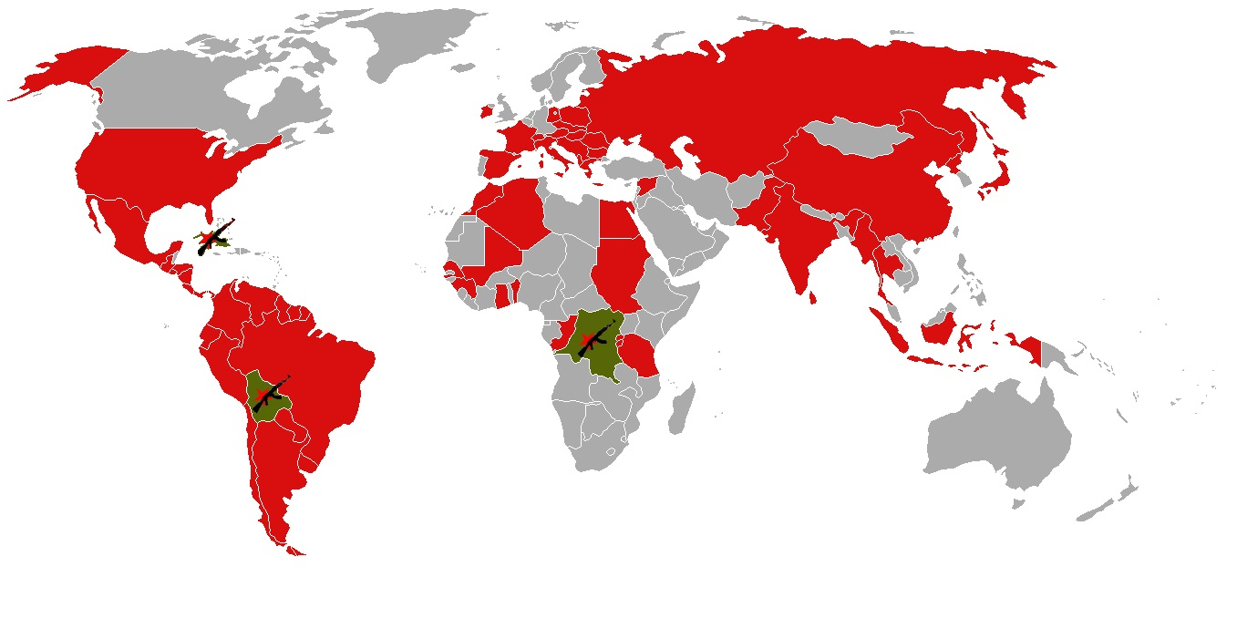 A world map displaying those countries lived in or visited by Che – Countries Traveled Map
