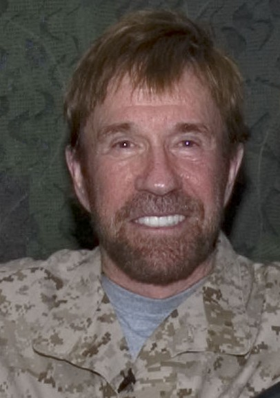 The 77-year old son of father Ray Norris and mother Wilma Norris, 178 cm tall Chuck Norris in 2017 photo