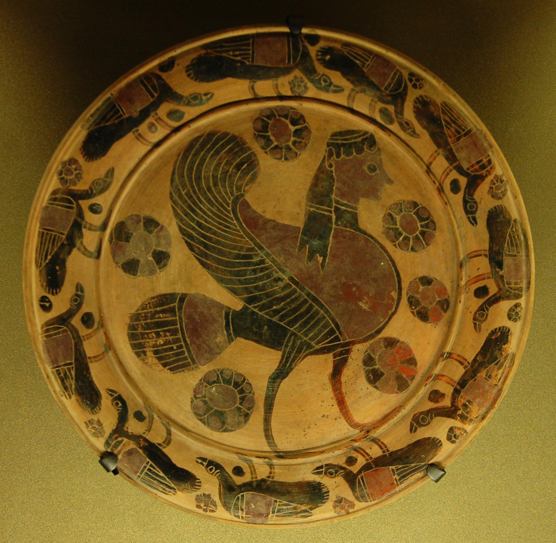 Sirena. Plato beocio, entre 570–560 a. J.C., descubierto en Tanagra. Museo del Louvre.