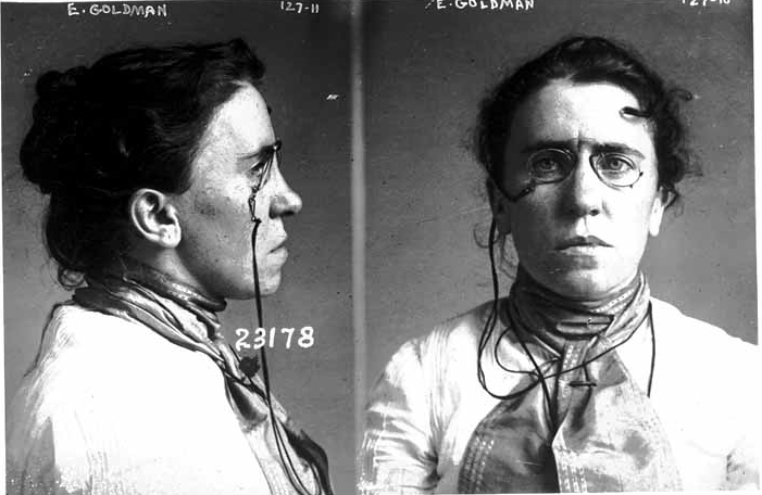 Emma Goldman -- mugshot from Chicago, Sept 10, 1901