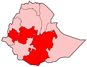 Map of Ethiopia highlighting the Oromia Region