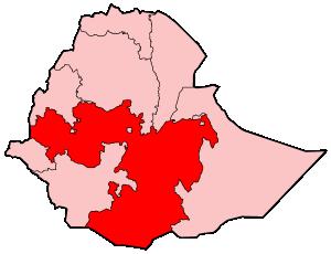 Map of Ethiopia highlighting the Oromia Region