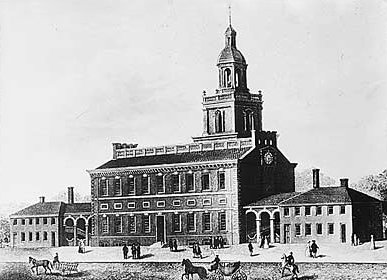 Exterior view of Independence Hall (circa 1770s)
