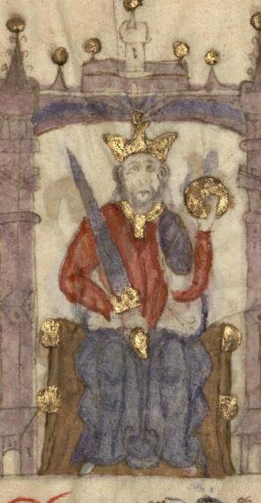 Fernando IV de Castilla en una miniatura del Compendio de crónicas de reyes de la Biblioteca Nacional de España