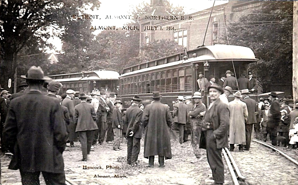 First interurban cars on the Detroit, Almont and Northern Railroad, Almont, Michigan, July 1, 1914..jpg