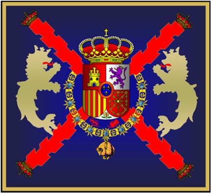 Colours of the Marine company of the Royal Guard. Flag emblem for the Marine company of the Spanish Royal Guard.jpg