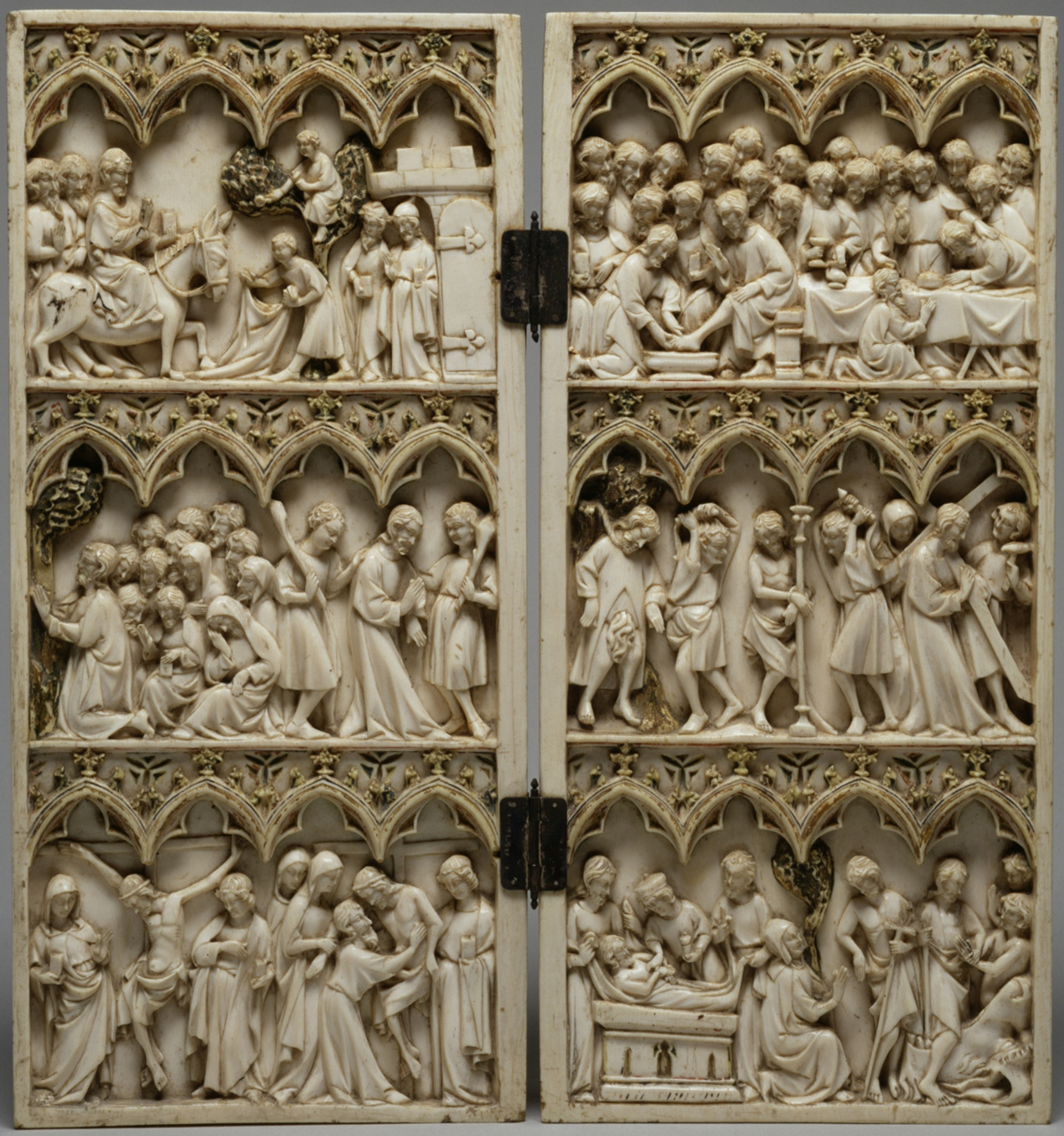 File french diptych with scenes from the passion of