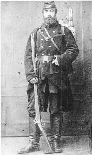 French Garde Nationale soldier with Tabatiere rifle, 1870. French Garde Nationale soldier with Tabatiere rifle 1870.jpg