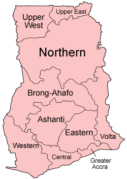 A clickable map of Ghana exhibiting its ten regions.