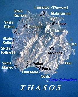 Thasos island of northeast Greece, showing major towns & mountain terrain.