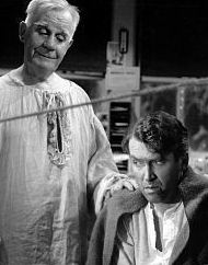 As George Bailey, with guardian angel Clarence, in It's a Wonderful Life (1946). Stewart received an Oscar nomination for the performance, and the film is widely considered a Christmas classic. Guardian angel clarence.jpg