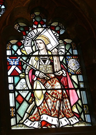 Изображение Изабеллы Невилл на витраже замка Кардифф. Изображение из Википедии