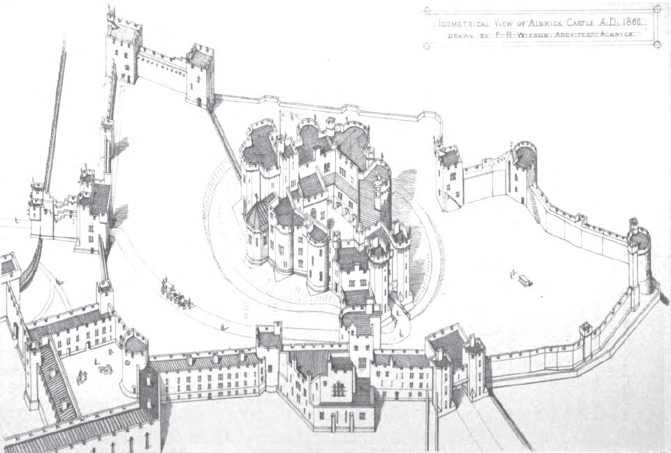 File Isometric View Of Alnwick Castle 1866 Jpg Wikipedia