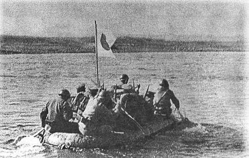 Japanese soldiers cross the Khalkin Gol