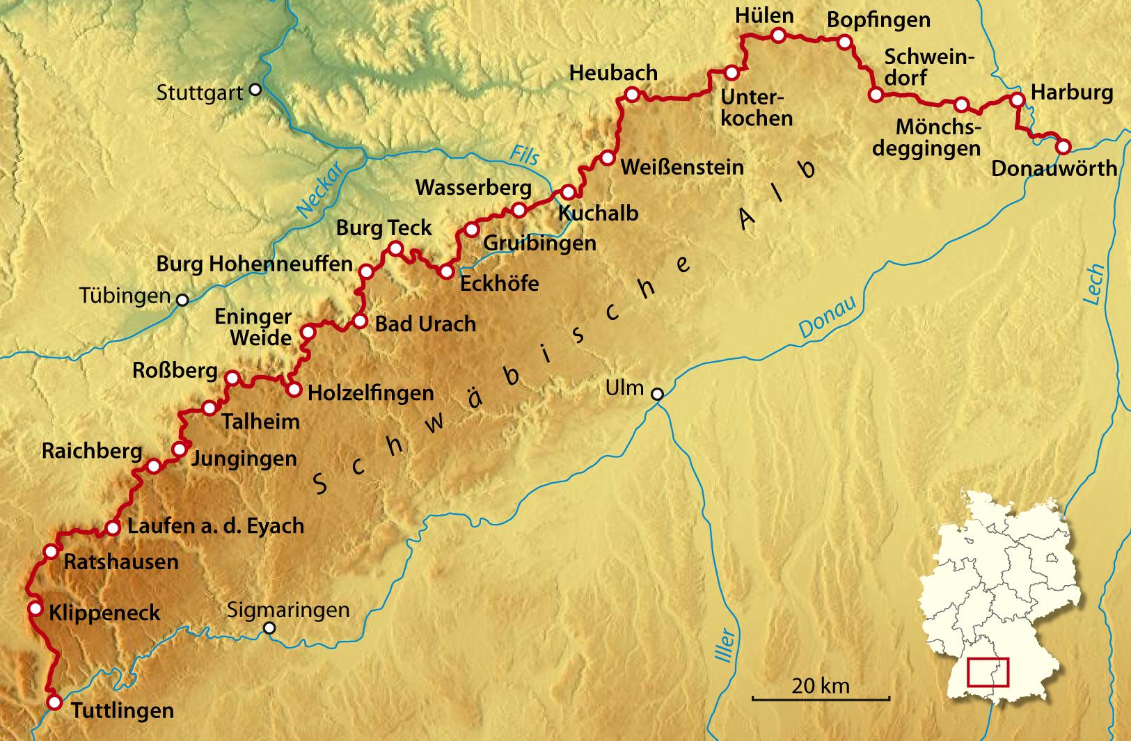 schwäbische alb karte Datei:Karte Schwäbische Alb Nordrand Weg.png – Wikipedia