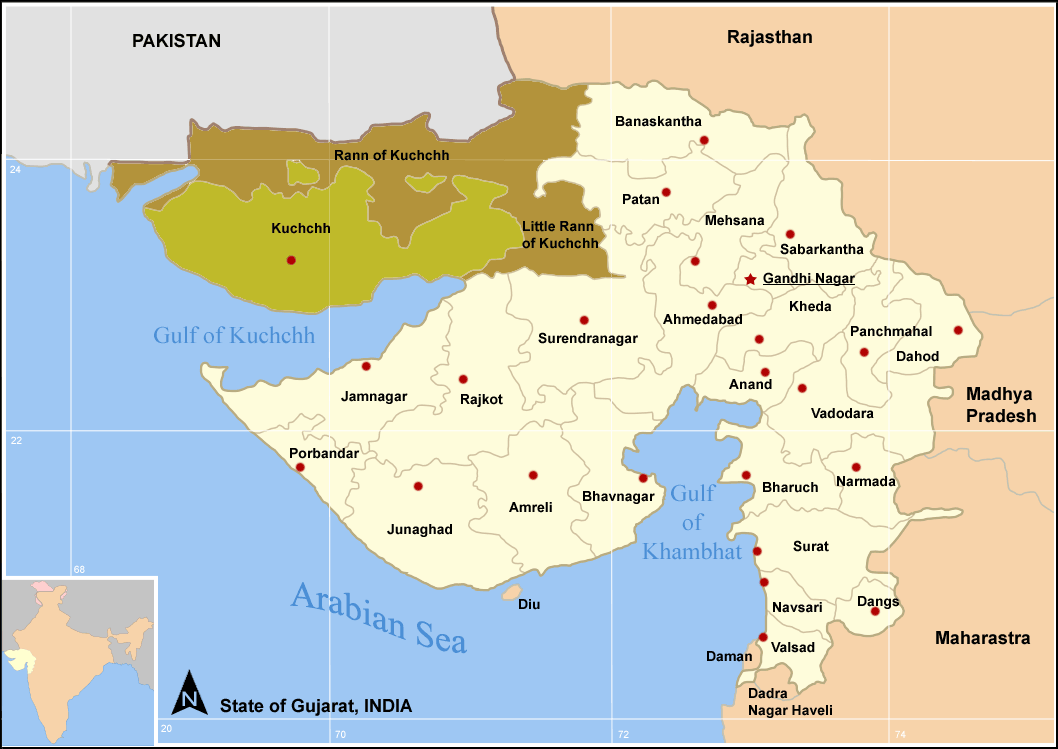Map of Gujarat showing the Greater Rann of Kutch and Little Rann of Kutch
