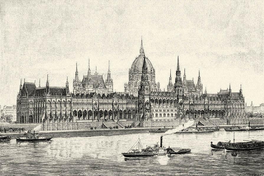 Le Parlement hongrois à Budapest en 1900 par l'illustrateur Gusztáv Morelli.
