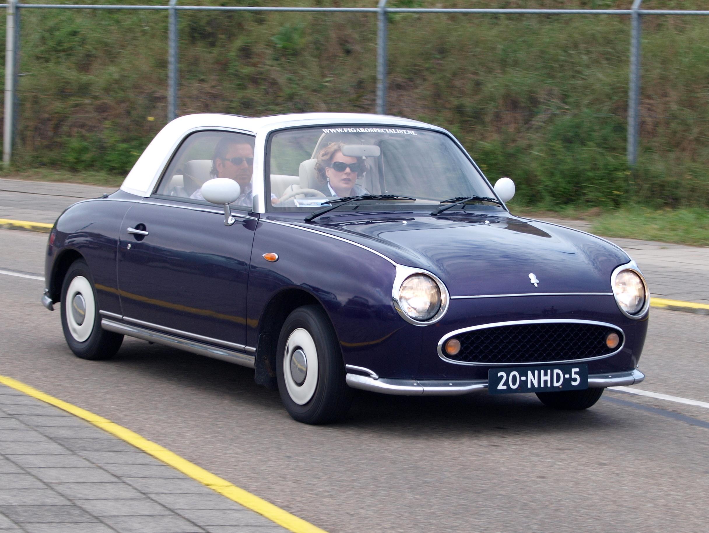 Nissan Work Van >> File:Nationale oldtimerdag Zandvoort 2010, 1991 NISSAN FIGARO, 20-HND-5.JPG - Wikimedia Commons