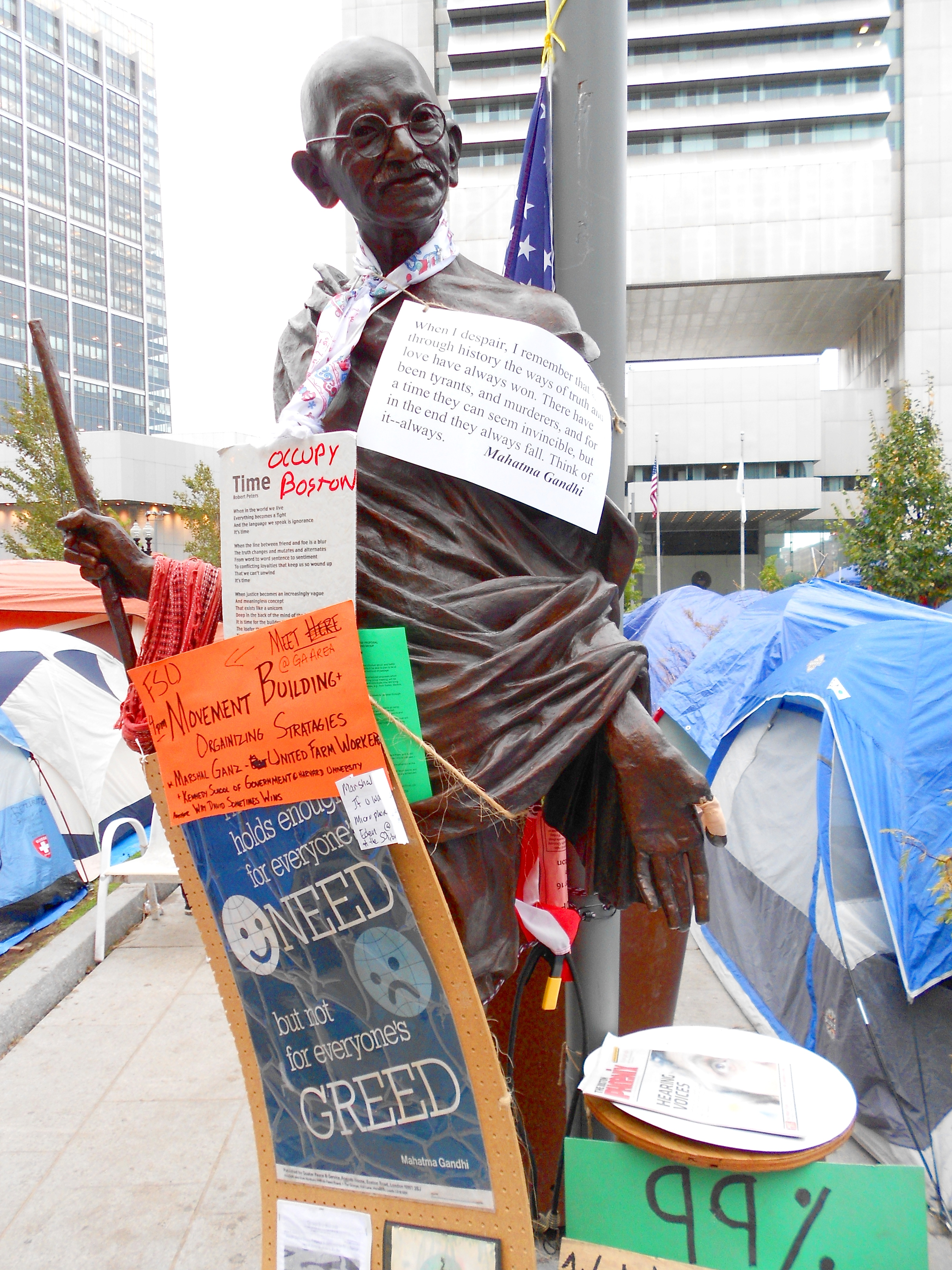 Peace Abbey's Gandhi statue at Occupy Boston