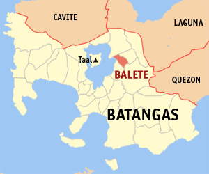 Map of Batangas showing the location of Balete