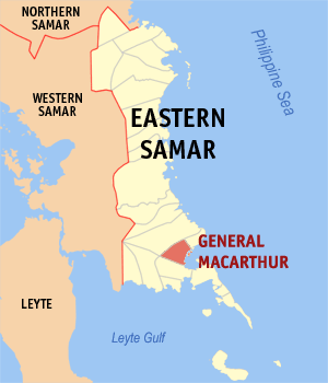 Map of Eastern Samar showing the location of General Macarthur