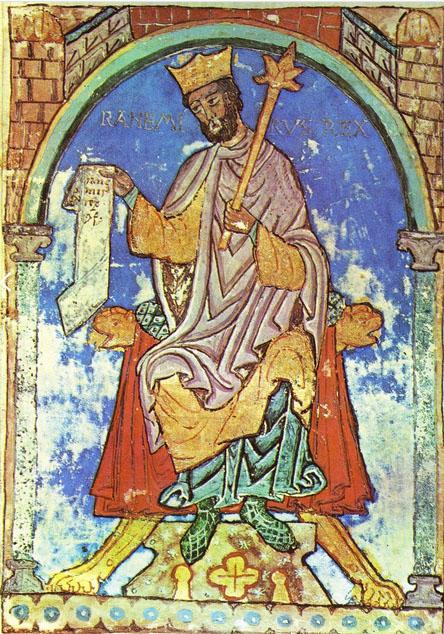 Ramiro II, según una miniatura del Tumbo A de la Catedral de Santiago de Compostela.