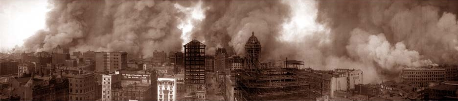 San Francisco burning in 1906.