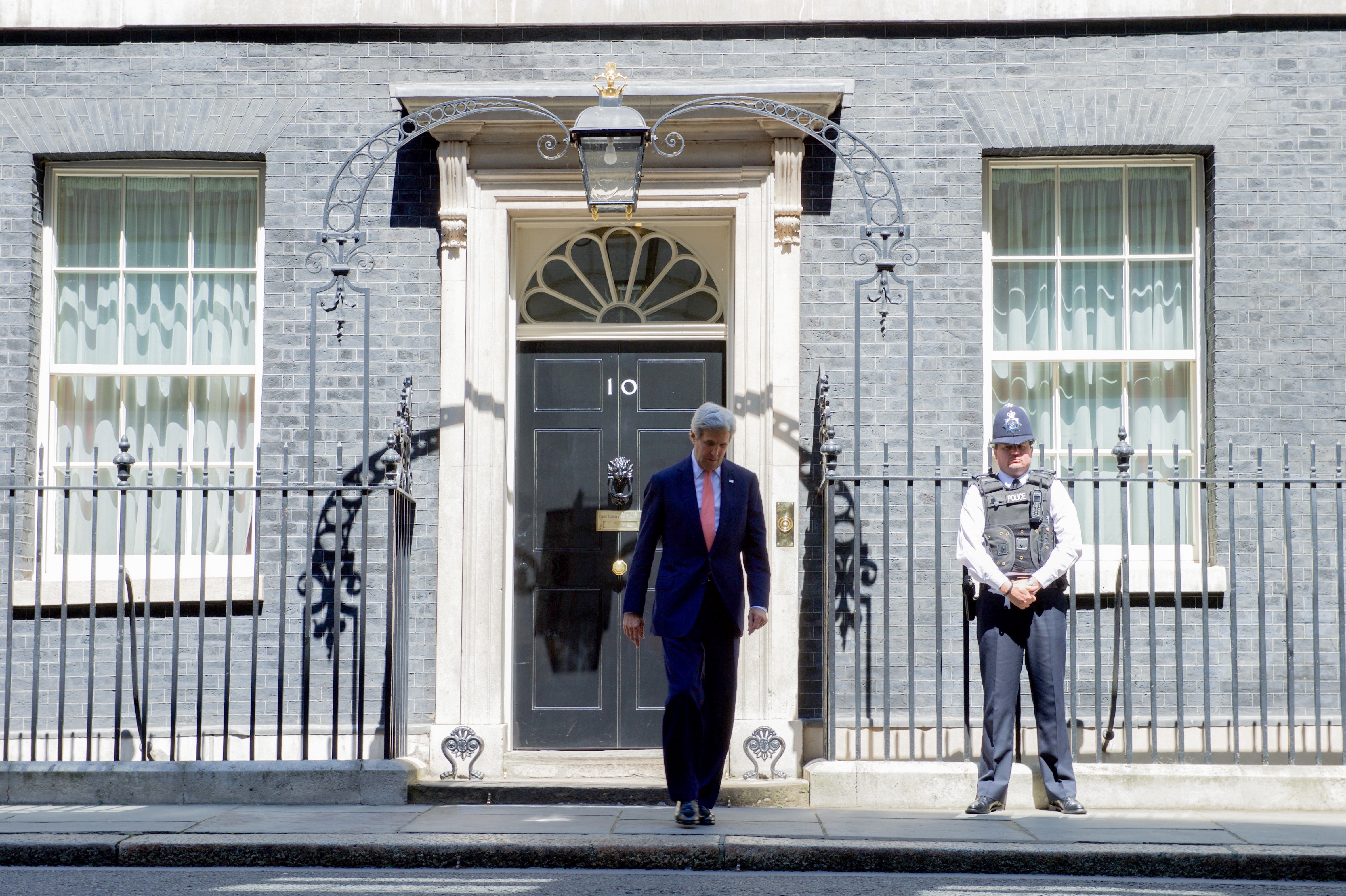 File Secretary Kerry Exits No 10 Downing Street in London