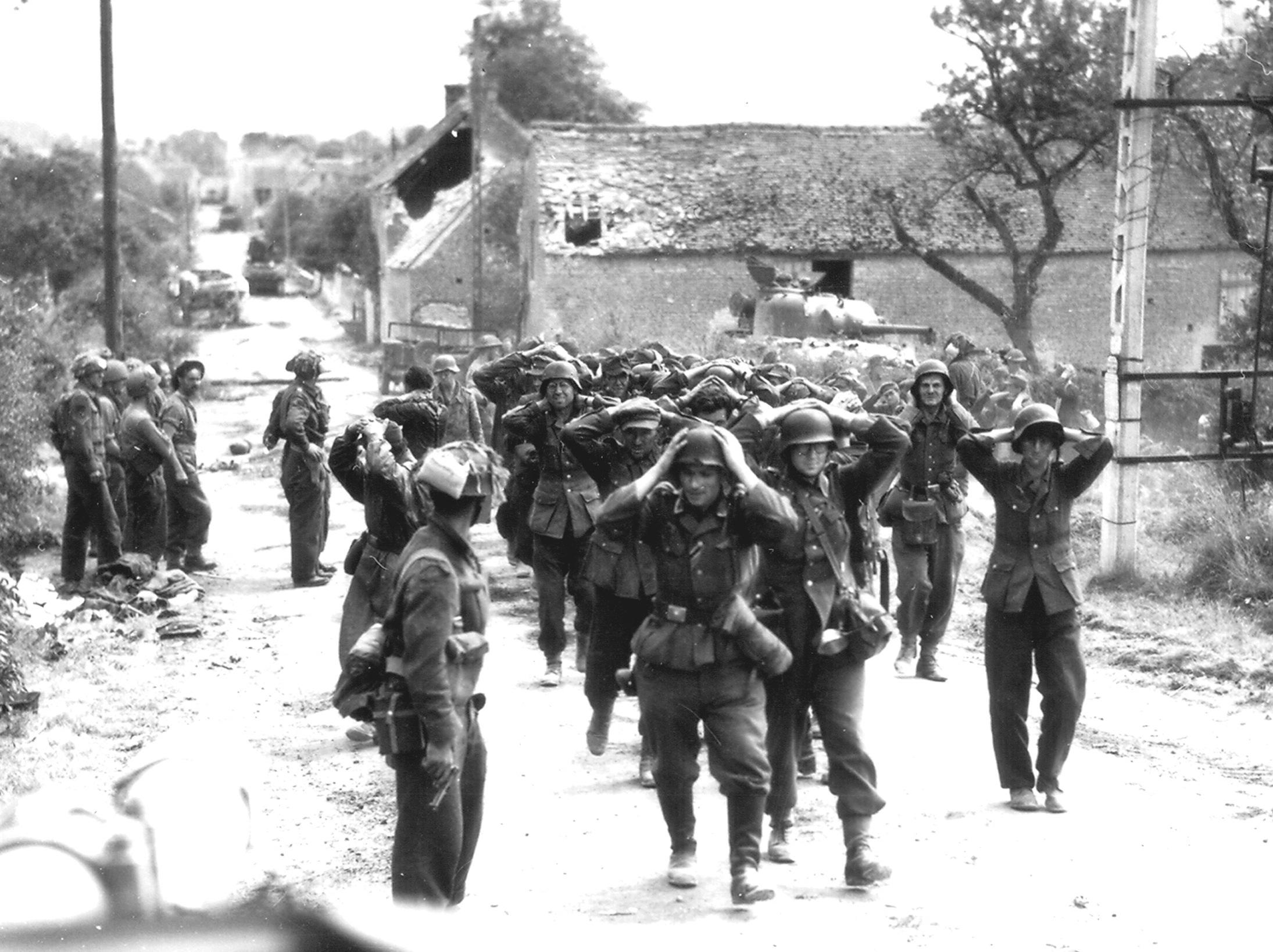 German forces surrendering in Saint-Lambert-sur-Dive Normandy