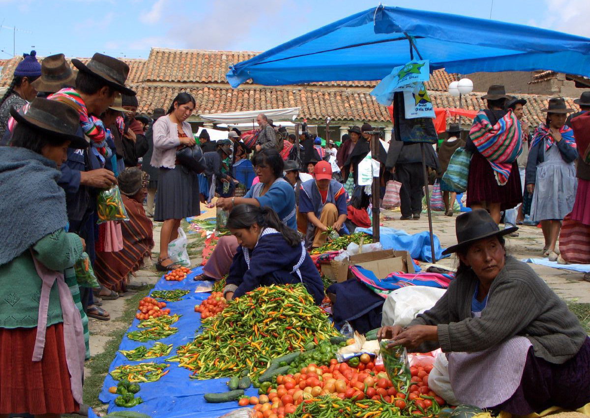 Tarabuco Market by Jenni Frog derivative work: Meister (Tarabucomarketproduce.jpg) [CC-BY-2.0 (https://creativecommons.org/licenses/by/2.0)], via Wikimedia Commons