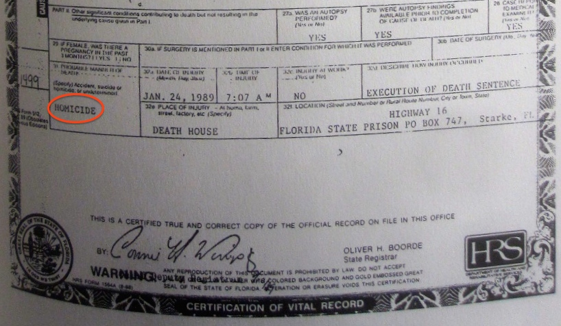 File:Ted Bundy, lower half of death certificate.JPG - Wikimedia Commons