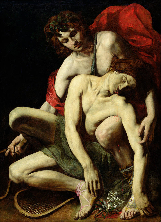 An image of Apollo holding his dead lover, Hyacinthus.